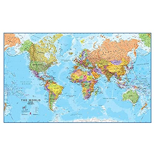 Large world map poster amazon giant world megamap large wall map paper with front sheet lamination 7795 x 4803 inches gumiabroncs Image collections