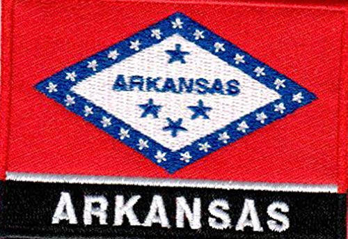 USA State United States Iron on Flag Patch Heat Seal Multicolor Applique (Arkansas AR)