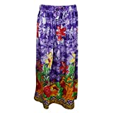 Womans Maxi Skirt Purple Floral Printed Bohemian Hippie Sexy Long Skirts S/M