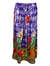 Mogul Womans Maxi Skirt Purple Floral Printed Bohemian Hippie Sexy Long Skirts