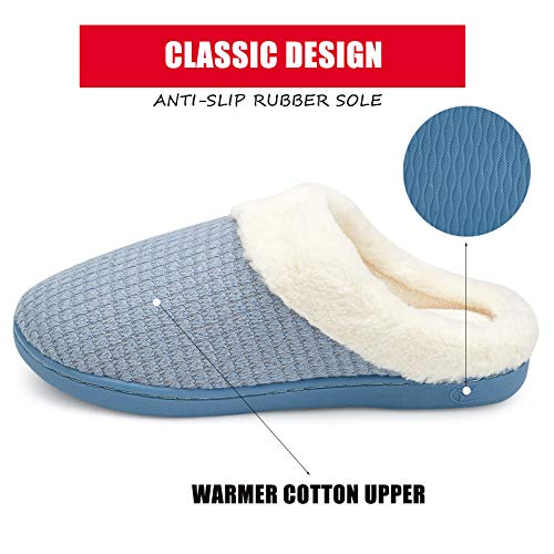 welltree Mens Cotton Slippers House Shoes Memory Foam Lining Indoor Anti-Slip Comfort Knitted Cozy Plush 9-10 US Men//Grey//42-43 B