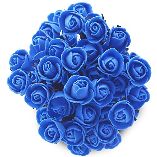 Soledi Artificial Silk Fake 15 Heads Flower Bunch Bouquet Home Hotel Wedding Party Garden Floral Decor Peony - (Blue Fake Flowers)