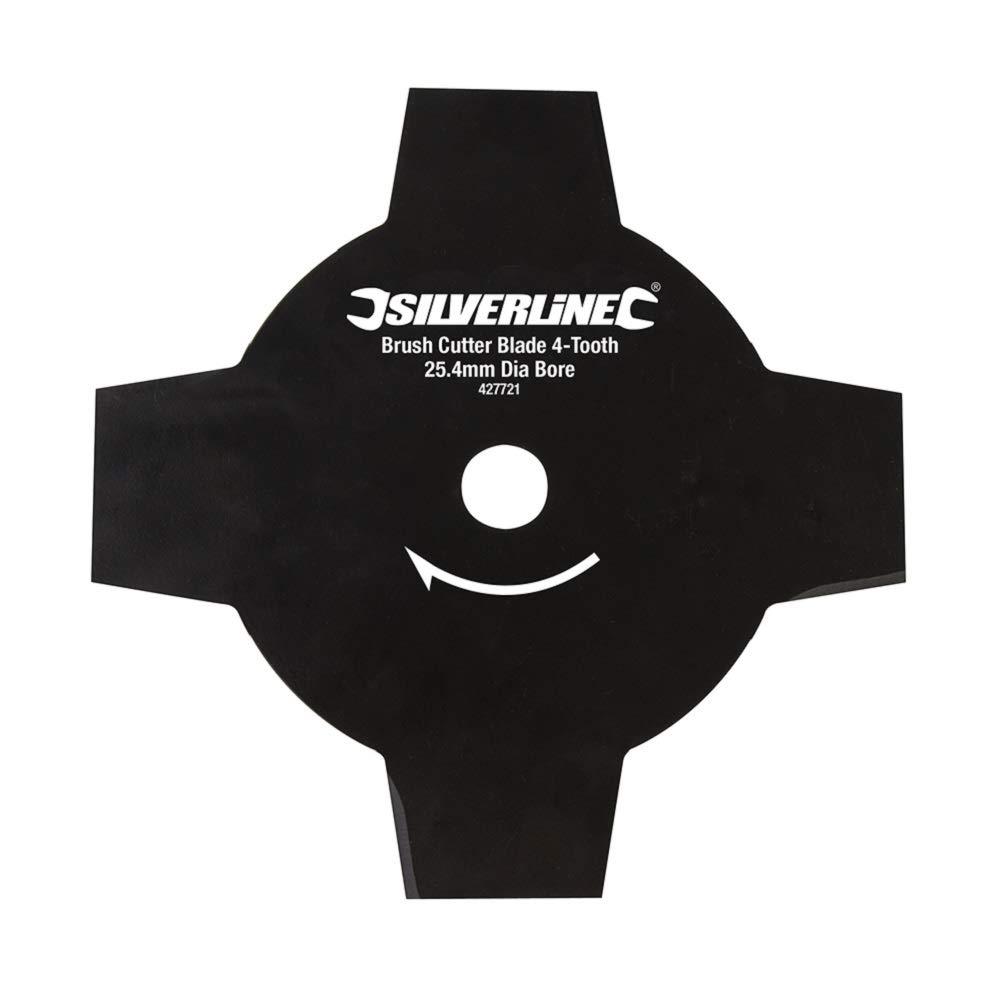 Silverline 427721 - Disco para desbrozadora de 4 dientes (Agujero Ø25,4 mm)