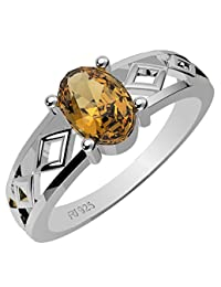 0.90ctw,Genuine Citrine 5x7mm Oval & Solid .925 Sterling Silver Rings