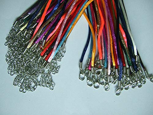 50pcs 2mm Mixed Satin Silk Pendant Necklace Cord 18-24inches/2mm with Clasp Chain ()