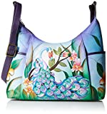 Anna by Anuschka Hand Painted Leather Women's Large Shoulder HOBO, midnight peacock