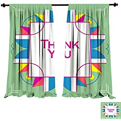 Curtains for Bedroom Thank You Greeting Card Thanksgiving Design Abstract Geometric Elements Layout Template Card Invitation brochure Flyer cov Insulated Window Draperies