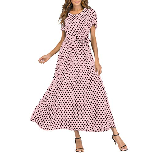 Mikilon Women Casual Boho Summer Maxi Dresses Polka Dot Short Sleeve Swing Dress with Belt Pink