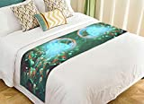 Custom Ocean Animal Bed Runner, King of Jellyfish Underwater World Bed Runners And Scarves Bed Decoration 20x95 inch