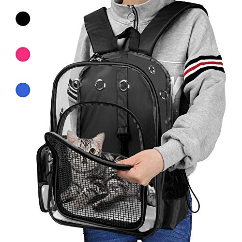 (Pet Clear Cat Backpack Carrier Breathable Portable Foldable Adjustable Transparent Pet Bubble Rucksack Carrier For Puppy Dog Cat Lightweight Cat Backpack for Outdoor Walking (Black with Safety Hook))