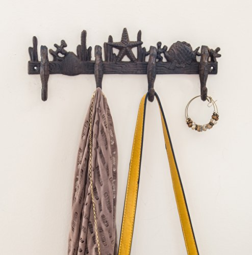Cast Iron Wall Hanger | Sea Horses, Stars and Shells with 4 Hooks | Wall Mounted Decorative Rack | 13.6 X 4.5