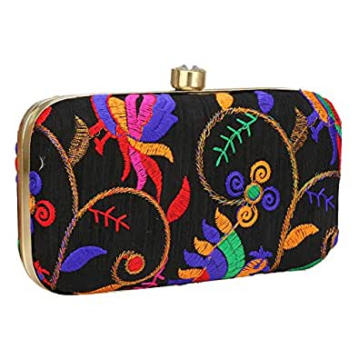 Hand Crafted Designer Box Clutch with Zari Embroidery Work on Silk Texture Specially Designed Size: Small