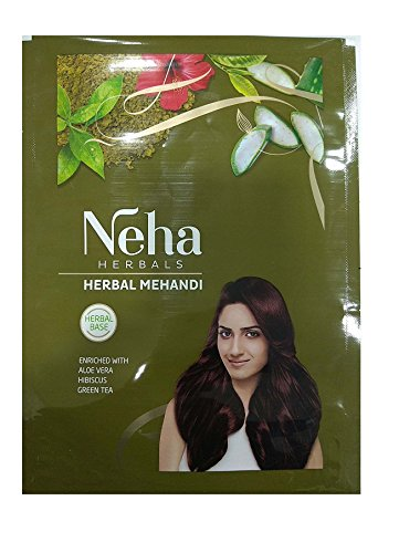Neha 100% Herbal Mehandi , Natural Henna Hair Color ,Enriched with 10 Natural Herbs Like Green Tea ,Aloe Vera,habiscus (55gm)