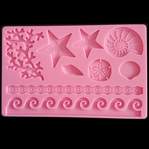 Star Soap Mold Food Grade Sea Shell Star Lace Starfish Silicone Mold Chocolate Fondant Cake Decoration Kitchen Soap Tools Baking Accessories