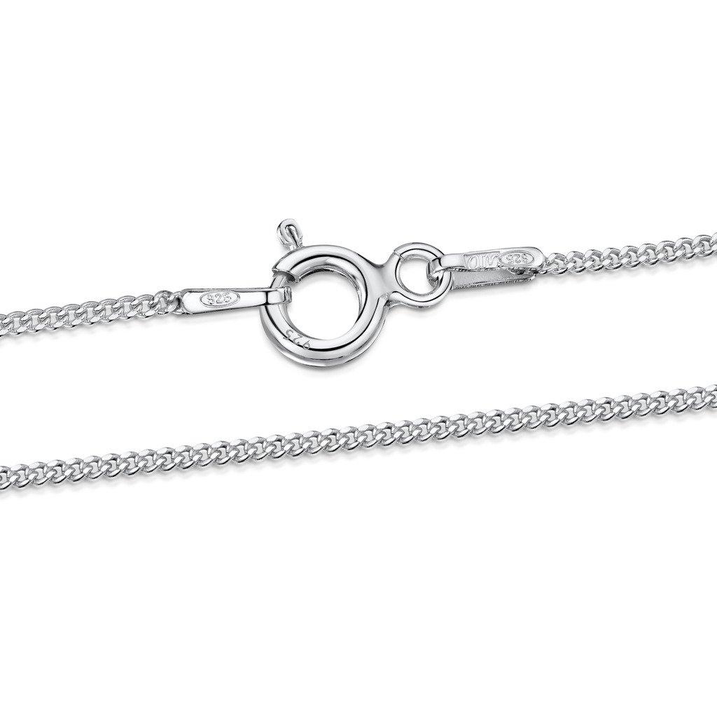 Amberta Joyería - Collar - Fina Plata De Ley 925 - Cadena de Frenar - 1.1 mm - 36 40 45 50 55 60 cm BIA-S915-CHAIN-001-030-450
