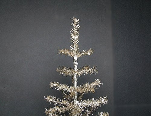 24'' Silver Christmas Tinsel Tree Retro Style Silver Feather Tinsel Tree by Lee Display (Image #1)
