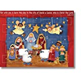 Children's Christmas Nativity Stable Advent Calendar Classroom Bulk Set, Pack of 12