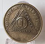 1 Year AA Alcoholics Anonymous Distressed Bronze Sobriety Medallion Chip Serenity Prayer Recovery
