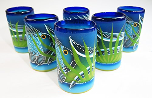 Mexican Glass, Hand blown, Hand Painted, Fish In Sea, 16 Oz, Set of 6