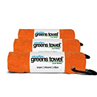 """Greens Towel Microfiber (3 Pack), 16"""" X 16"""" with Carabiner Clip. The Convenient Golf Towel"""