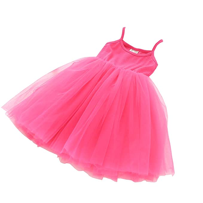 a9a4ba81b4 Baby Girls Tutu Dress Sleeveless Infant Toddler Sundress Tulle Bubble 5  Layers Rose