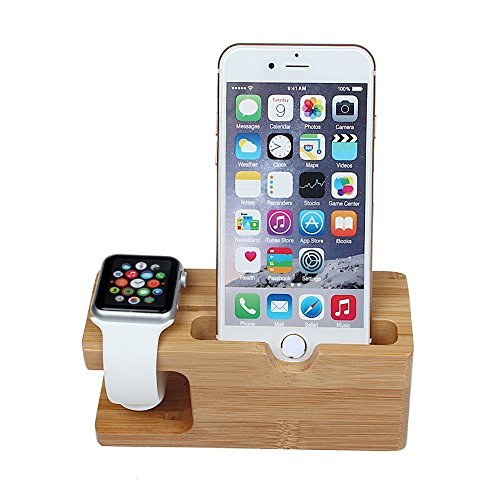 OWIKAR Bamboo Apple Watch Stand, Wood Charging Stand Bracket Dock Station Cradle Holder For iPhone And Apple Watch 38mm And 42mm