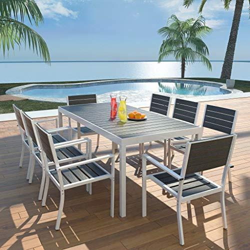 (9pcs Outdoor Patio Dining Sets 1 Table + 8 Chairs Aluminum WPC Outdoor Furniture Set Black)