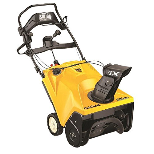 Gas Powered Snow Blower with Headlight Single-Stage Electric Start Features 2-Way Remote Chute and Pitch Control