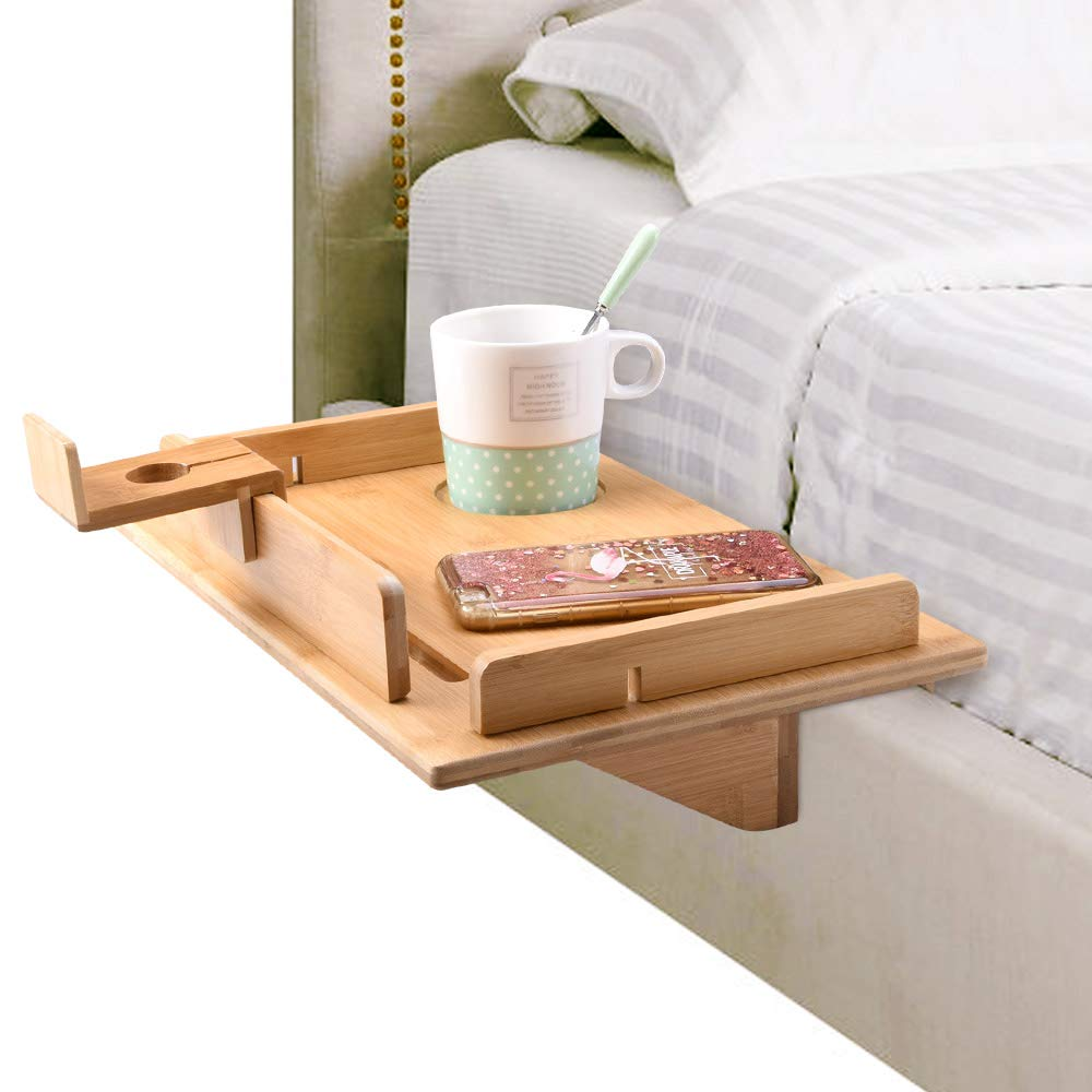 Bedside Shelf 15''x10'' Attachable Bed Tray Caddy Fit for 13'' Laptop Stand, Kid's Nightstand College Dorm Room, Bunk Bamboo Bed Shelf for Phones, Tablet, Toys, Drink, Clock