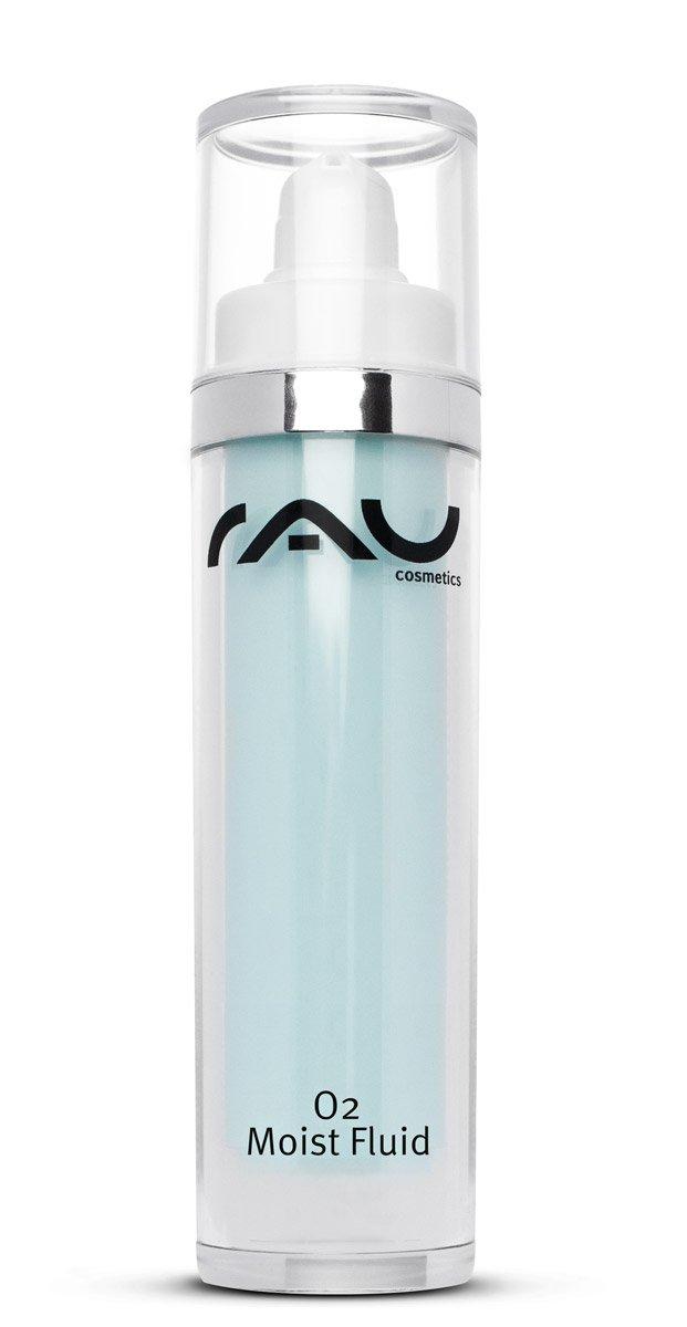 Gesichtscreme mit reiner Hyaluronsäure, sorgt für strahlende & straffe Haut, anti Raucherhaut, nach dem Sonnenbad & zur Abschwächung von Pickel-Malen (Mitesser) - RAU O2 Moist Fluid 50 ml RAU Cosmetics 189811