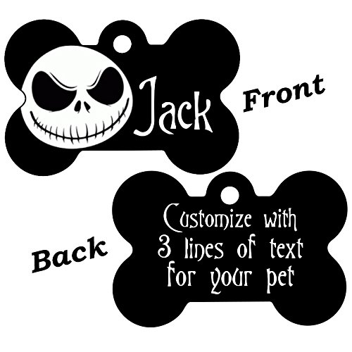 uDesignUSA Disney Double Sided Pet Id Tags for Dogs & Cats Personalized for Your Pet (Jack Skellington, Bone Shaped)]()