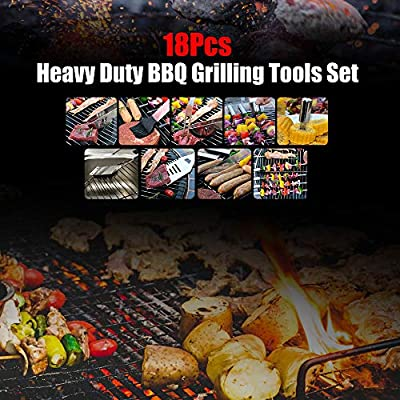 Mastertop 18Pcs Heavy Duty BBQ Grilling Tools Set Stainless-Steel Barbecue Tools Set with Spatula, Fork, Basting Brush, Tongs and Storage Case for Outdoor Camping Extra 2 Pcs of Cloth as Gift