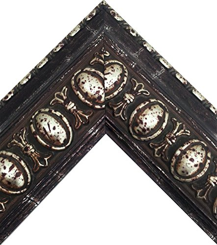 Spanish Castilian Renaissance Metallic Silver with Distressed Features Picture Frame (24x36 Inch)