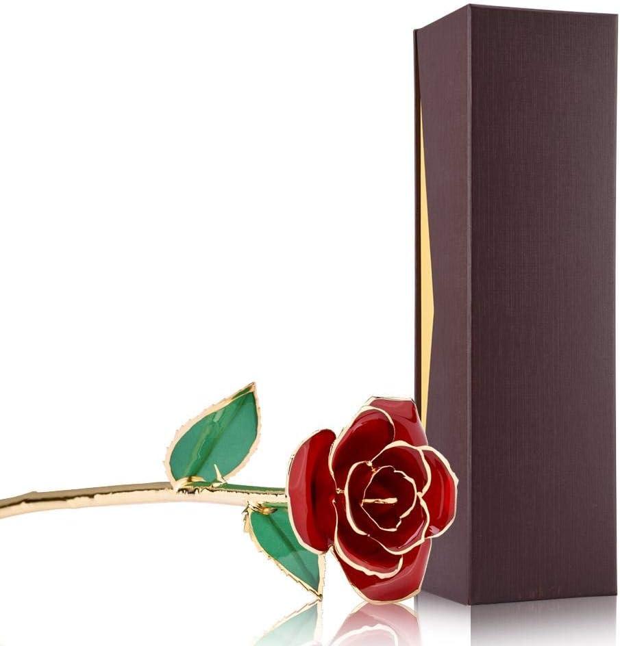 Oro MEIWO 24K doro Rosa Oro Rosa di Rosa con Il Basamento di Esposizione della Lettera di Amore Valentino Regali Perfetti per Il Compleanno Giorno del Biglietto di S Giorno della Madre