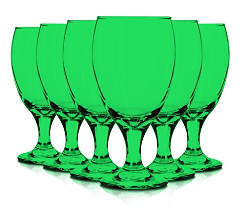 Libbey 6 Piece Goblet Party Glass, 16.25-Ounce Full Color Emerald Green Additional Vibrant Colors Available by TableTop -