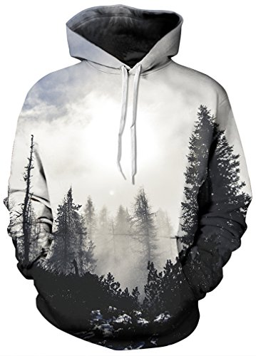 be46ef7367bb FLYCHEN Men's Digital Print Sweatshirts Hooded Top Galaxy Pattern ...