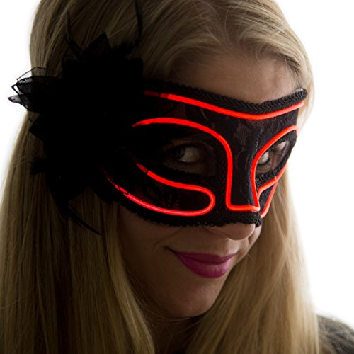 Red Venetian Mask (Neon Nightlife Women's Light Up Venetian Mask Mardi Gras Masquerade, Red)
