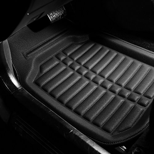FH Group F14409SOLIDBLACK Solid Black Floor Mats Deep Tray All Weather Floor Mats, 4 Piece Set
