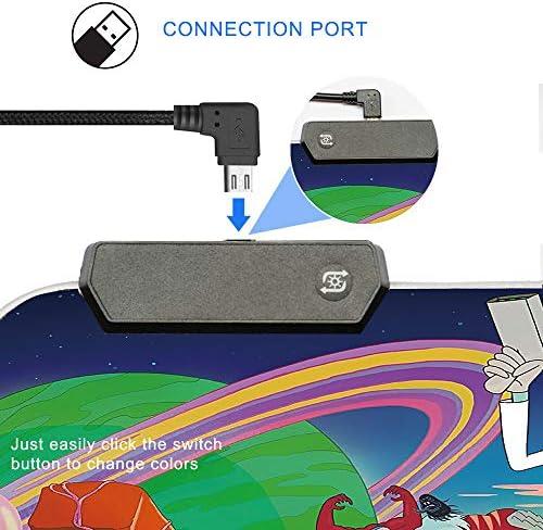 Bimormat RGB Gaming Mouse Pad Large Mouse Mat, 31.5 X 11.8 Inch Extra LED Extended Mousepad, Non-Slip Rubber Base Mouse Keyboard Mat (80×30 Rikrun) 512SkSiForL