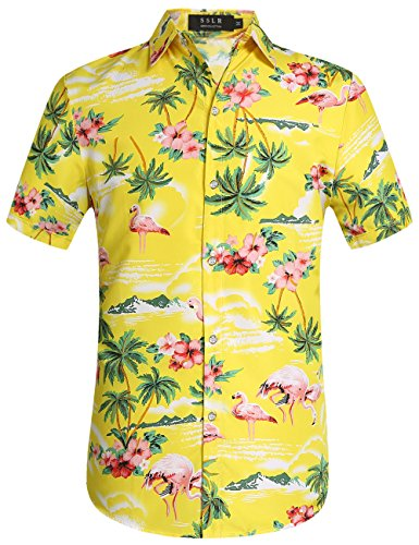 SSLR Men's Flamingos Casual Short Sleeve Aloha Hawaiian Shirt (Small, Yellow)
