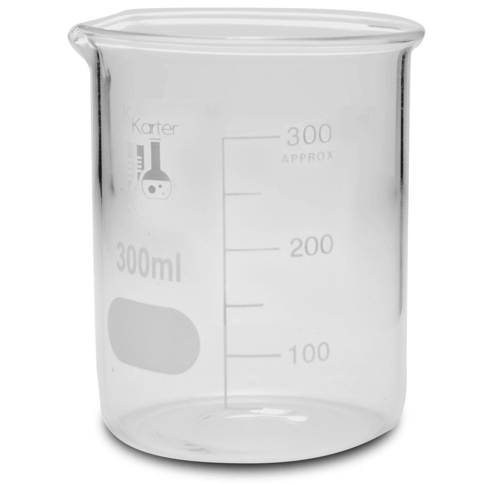 300ml Beaker, Low Form Griffin, Borosilicate 3.3 Glass, with Spout & Printed Graduations, Karter Scientific 232R4