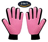Pet Grooming Glove,Gentle Deshedding Brush Glove - Efficient Pet Hair Remover Mitt for Dog & Cat with Long & Short Fur - Enhanced Five Finger Design - One Pair Left & Right [Pink]