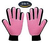 #2: Pet Grooming Glove,Gentle Deshedding Brush Glove - Efficient Pet Hair Remover Mitt for Dog & Cat with Long & Short Fur - Enhanced Five Finger Design - One Pair Left & Right [Pink]