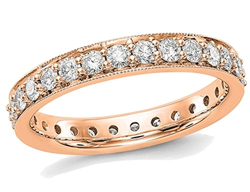 1.00 Carat (ctw Color H-I, I1-I2) Diamond Eternity Wedding Band in 14K Rose Pink Gold
