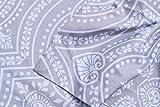 Max Studio Home Duvet Quilt Cover 3 Piece Set Full Queen Arianna Antique Orante Quatrefoil Lattice Medallions Medium Grey White Gray