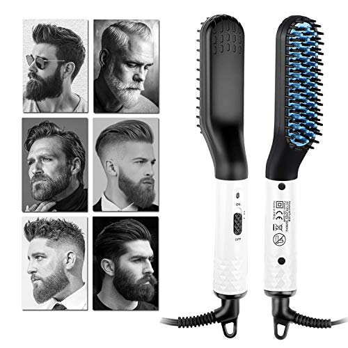 Beard Straightener Electric Hot Comb for Men, Beard Straightening Comb, Mens Hair Beard Iron Straightener, Quick Styling Bread Brush for Curly Hair Beard, Dual Voltage 110-240V Great for Travel