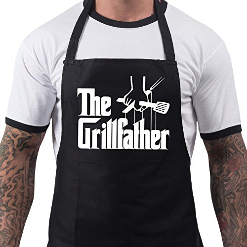 BBQ Apron Funny Grill Aprons for Men The Grillfather Men's Grilling Gifts Black -