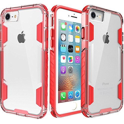iPhone 8 Case,iPhone 7 Case,Zisure[Rock Sugar] Heavy Duty Crystal Hard Clear Case Durable Shatterproof Sport Phone Cover for iPhone 8 iPhone 7 4.7 inch (Red)