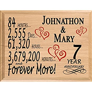 Broad Bay 7th Personalized 7 Year Anniversary Wedding Gift for Wife Husband Couple Him Her  sc 1 st  Amazon.com & Amazon.com: Broad Bay 7th Personalized 7 Year Anniversary Wedding ...