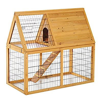 "Pawhut 46"" x 24"" x 46"" Deluxe Two-tier Wooden Run Rabbit Hutch Chicken Coop with Mesh Cover Small Animals Cage"